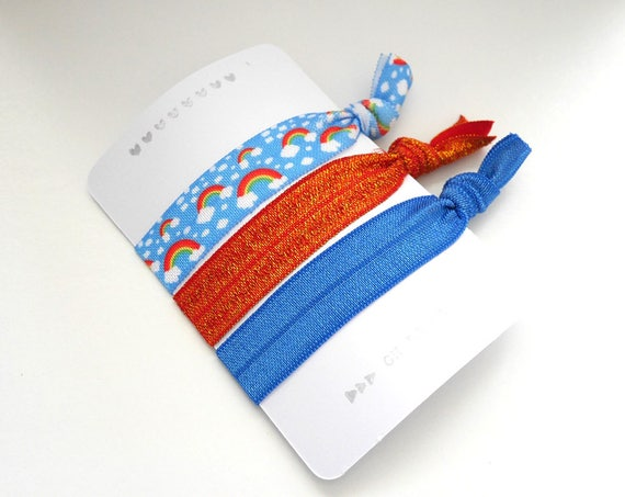 Set of 3 hair ties - elastics - no crease - stretch bracelets - rainbows - orange - glitter - blue - party favor - gift - Christmas- dK16