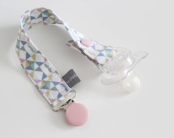 Pacifier clip - snap - enamel clip - pink - blue - mustache - graphic - triangles - baby - boy - girl - baby gift - baby shower - dummy