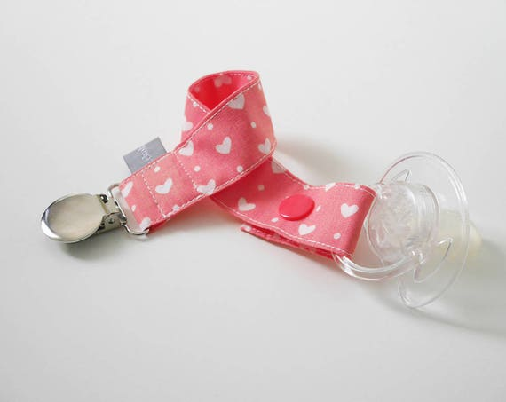 Pacifier clip - snap - clip - hearts - coral - white - cotton fabric - baby - boy - girl - baby gift - baby shower - dummy