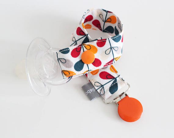 Pacifier clip - snap - enamel clip - leaves - graphic - red - orange - blue - gray - baby - boy - girl - baby gift - baby shower - dummy