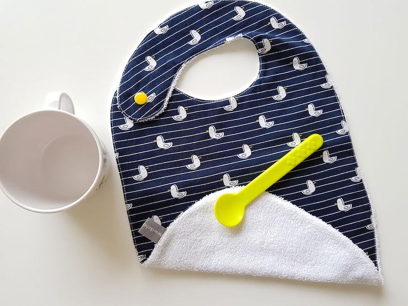 Baby bib  seagull  navy blue  yellow  bamboo  baby gift  image 0