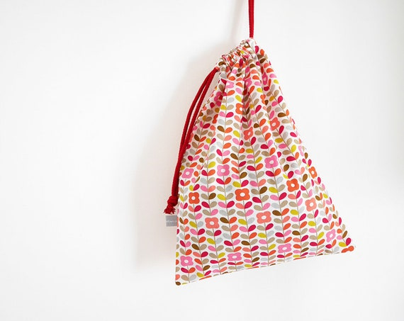 "Drawstring bag - Lingerie bag - Clothes bag - Luggage pouch - Travel pouch - 25x35 cm - 14x10"" - Flowers - pink - coral - Graphic"