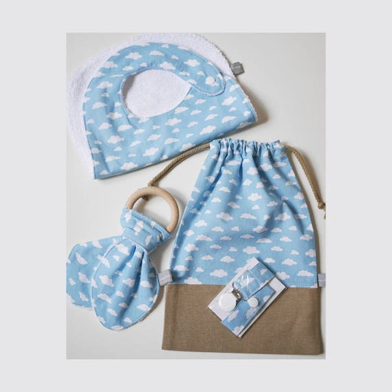 Baby gifts set - Customizable drawstring pouch + baby bib + Teether ring + Pacifier clip - blue - clouds - Baby shower