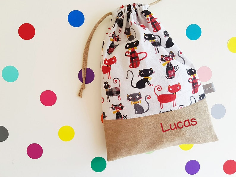 Customizable drawstring pouch  kindergarten  cats  red  image 0