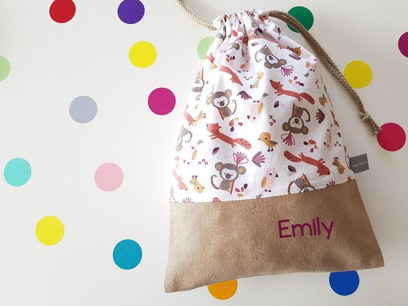 Customizable drawstring pouch  animals  white  pink  image 0