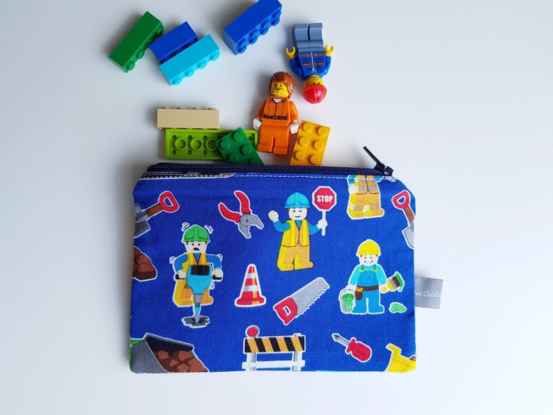 Mini zipper pouch  Mini zipper case  Lego  Blue  Yellow  image 0