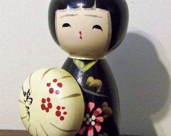 Vintage Japanese Wooden Kokeshi Doll Hand Painted Signed