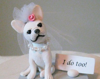 French bulldog, Frenchie, wedding cake topper, polymer clay, hand sculpted, OOAK, pawsnclaws, I do too
