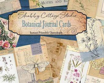 DIGITAL Botanical Journal Cards - Junk Journal Ephemera - Digital Download Paper Craft - Journaling Cards Printable - Printable Flower Cards