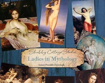 Digital Collage Sheet Ladies in Mythology  - Printable Download - Junk Journal Ephemera - Scrapbook Ephemera for Paper Lovers