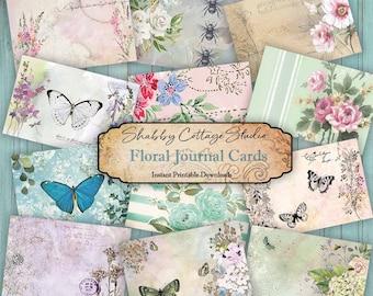Floral Journal Cards - Digital Ephemera for Junk Journals - Paper Craft - Journaling Cards Printable - Flower Ephemera