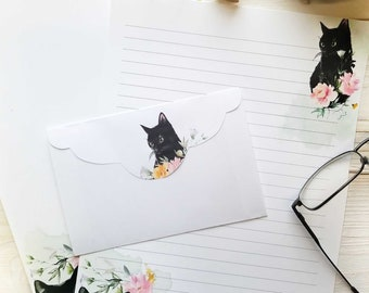 Cat Stationery Paper 8.5 x 11 - Printable Pen Pal Stationery -  Instant Digital Download - Writing Paper with Envelope - Cat Stationery