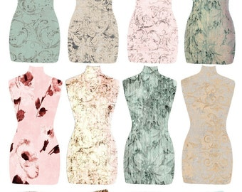 INSTANT DOWNLOAD Torso Tags DIGITAL Collage Sheet Damask and Floral Printable Download