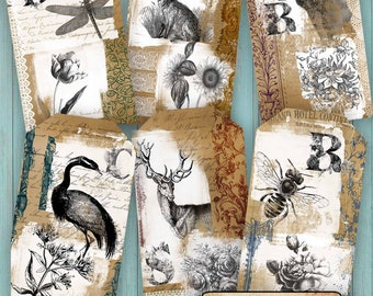 Digital Woodland Tags - Instant Download - Junk Journal Ephemera - Gift Tags - Jewelry Card - Paper Craft Projects - Printable Journal Tags