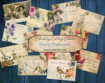 Digital Vintage Postcards - Printable Ephemera - Junk Journal Ephemera - Paper Craft - Journaling Cards Printable - Collage Sheet Downloads