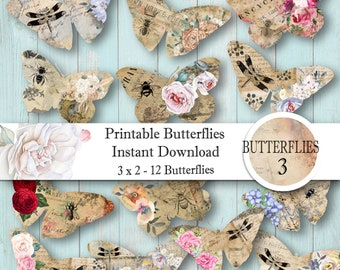 Digital Collage Sheet Printable Download Butterflies 3 - For Paper Crafting - Gift Tags - Journaling Elements - Scrapbooking - Instant Print