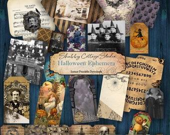 Halloween Ephemera Digital - Junk Journal Ephemera Pack - Printable Ephemera - Halloween Tags, Envelopes, Pockets - Spooky Papercrafts