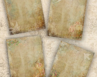 Aged Floral Paper INSTANT DOWNLOAD DIGITAL Postcards Backgrounds Tags Journal Pages Victorian Grungy  Scrapbooking Greeting Cards
