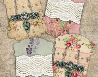 Vintage Floral PRINTABLE DIGITAL SHEET Tags Lace/Ribbon/Twine Card Jewelry Holder Gift Tag Journal Card