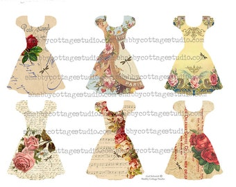 Party Dress Collection 3 Tags Roses and  Dragonflys INSTANT DOWNLOAD  DIGITAL Collage Sheet