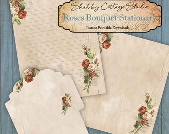 Writing Paper and Envelope Set 8.5 x 11 - Printable Roses Stationery - Unlined and Lined Paper - Instant Digital Download