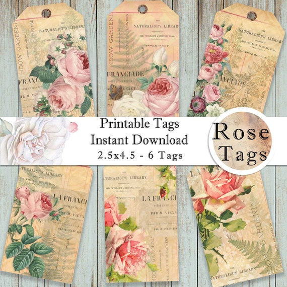 Antique Rose and Fashion Illustrations on a Pink Striped Background Instant Digital Download Print at Home Printable Vintage Gift Tags