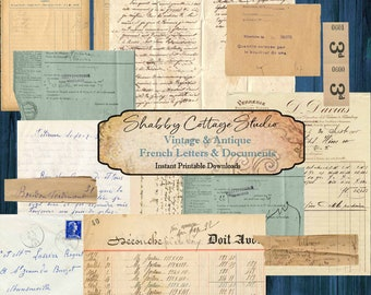 Digital French Ephemera - for Junk Journals - Printable French Documents - Digital Antique French Letters - Collage Papers