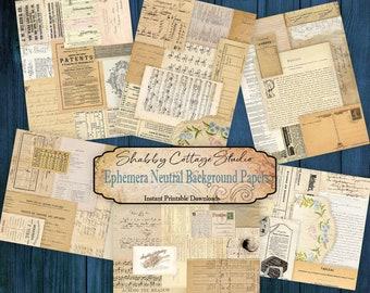 Background Ephemera Collage Papers  - Digital Collage Tear Sheet - Digital Ephemera Backgrounds for Junk Journals  - Instant Download