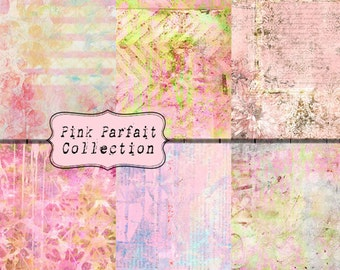 Pink Parfait Collection INSTANT DOWNLOAD Digital Paper 6 Pack 8.5x11 inch Feminine Grunge Sweet and Sassy