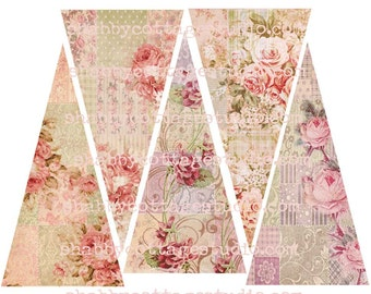 INSTANT DOWNLOAD DIGITAL Patchwork Roses Banner, Bunting, Garland Vintage Shabby Look