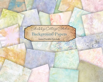 Pastel Watercolor Digital  Paper Pack -  Paper Crafting - Journal Pages - Scrapbook Papers - Digital Background Papers