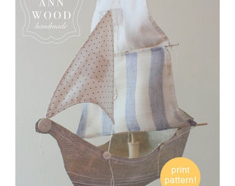 paper mache ship : print pattern for one large ship