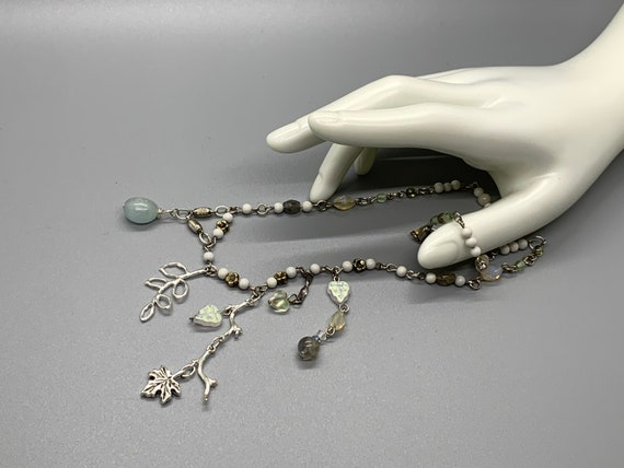 """Charmed Chain of the Sea Elves — 18"""" White Howlite and Quartz beaded chain, Aquamarine, labradorite, silvery sculpted driftwood and leaves"""
