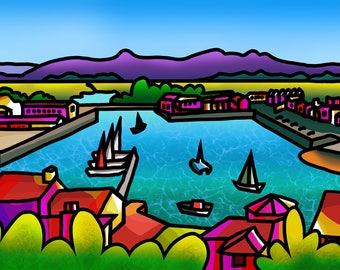 The Cob, Porthmadog - colourful fine art print by Amanda Hone