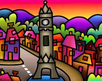 Machynlleth - colourful fine art print by Amanda Hone