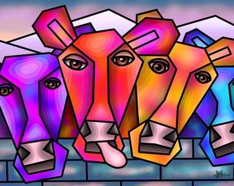 Winter Cows - colourful fine art print by Amanda Hone