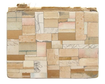 Holiday Sale - Remnant - Collage on Book Cover - Original Paper Collage, Free Shipping