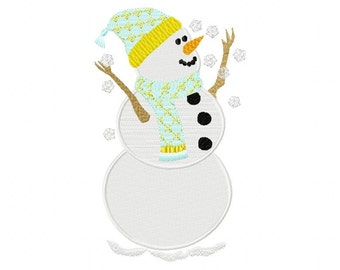 Charming Snowman Catching Snowflakes (5 x 7 Hoops or Larger)