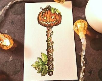 Pumpkin Skeleton Key Original Watercolor Illustration Drawlloween Miniature Art