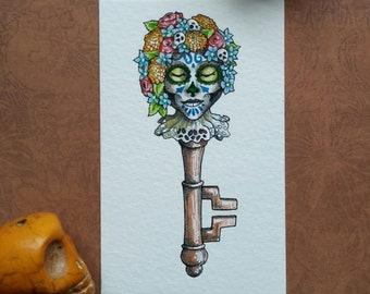 Catrina Skeleton Key Original Watercolor Illustration Day of the Dead Miniature Art