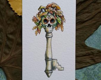 Oak Skeleton Key Original Watercolor Illustration Day of the Dead Miniature Art