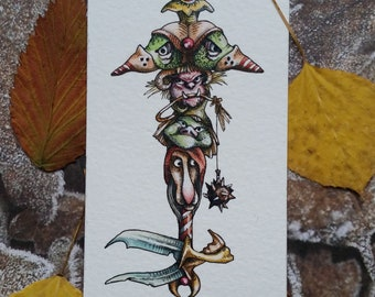 Goblin Skeleton Key Original Watercolor Illustration Drawlloween Miniature Art