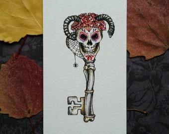 Devil Skeleton Key Original Watercolor Illustration Day of the Dead Miniature Art