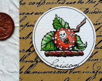 Poison Apple Watercolor Painting Original Miniature Drawlloween Art