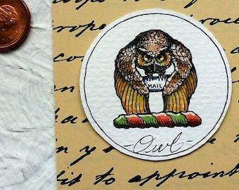 Owl Mail Watercolor Painting Original Miniature Harry Potter Art