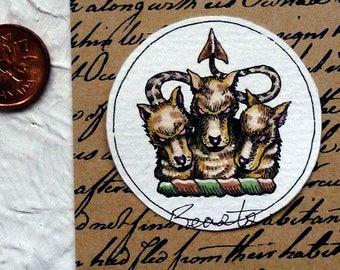 Cerberus Watercolor Painting Original Miniature Drawlloween Art