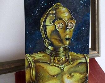 C3PO Original Painting 6x16 Star Wars Acrylic