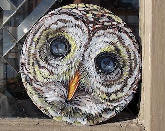 Owl ORIGINAL Round Acrylic Painting Small Art
