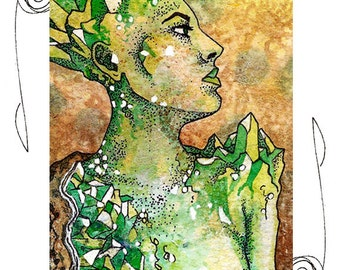 Earth Elemental ACEO 2.5x3.5 Print Mini Trading Card Art