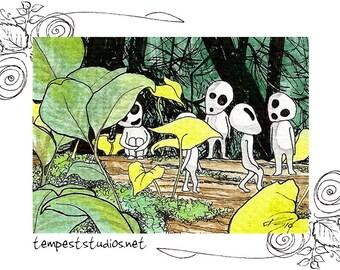 Tree Spirits ACEO 2.5x3.5 Print Mini Anime Sketch Card